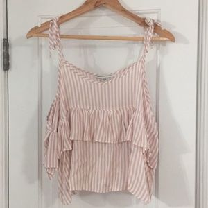 American Eagle Outfitters Tops - AE Pink and Cream Striped Tie Off the Shoulder Top